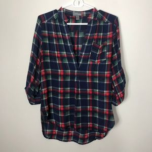 Market & Spruce Plaid Henley Blouse, Size Small